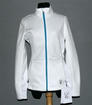 White SPYDER Core Jewel Knit Weave Turq Zipper Sweater Jacket Wms M NWT ... - $69.99