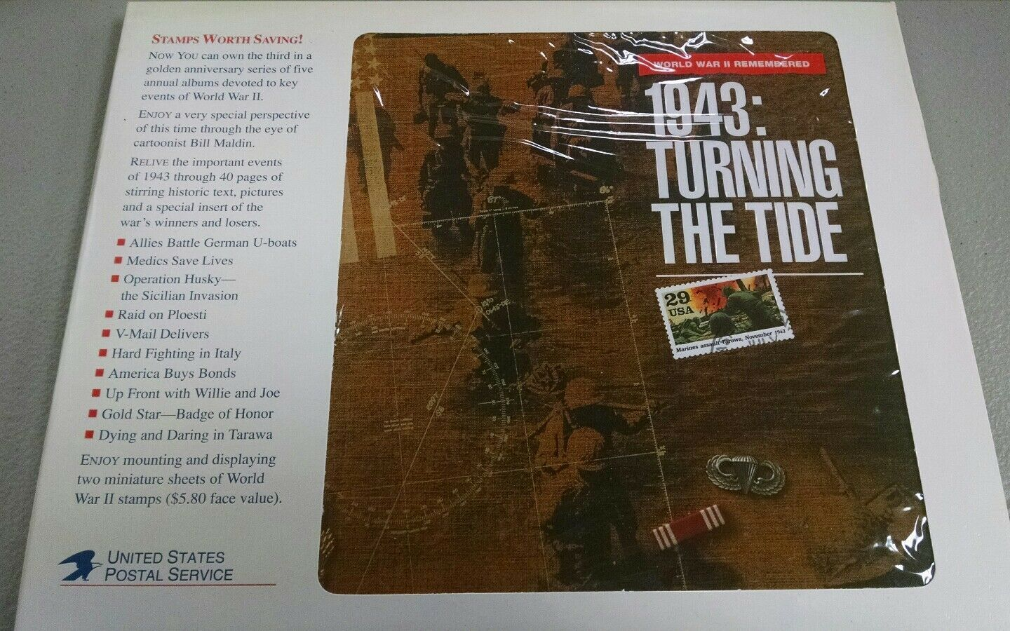 USPS WWII Remembered 1943: Turning The Tide Mint Set Hard Bound Book c80