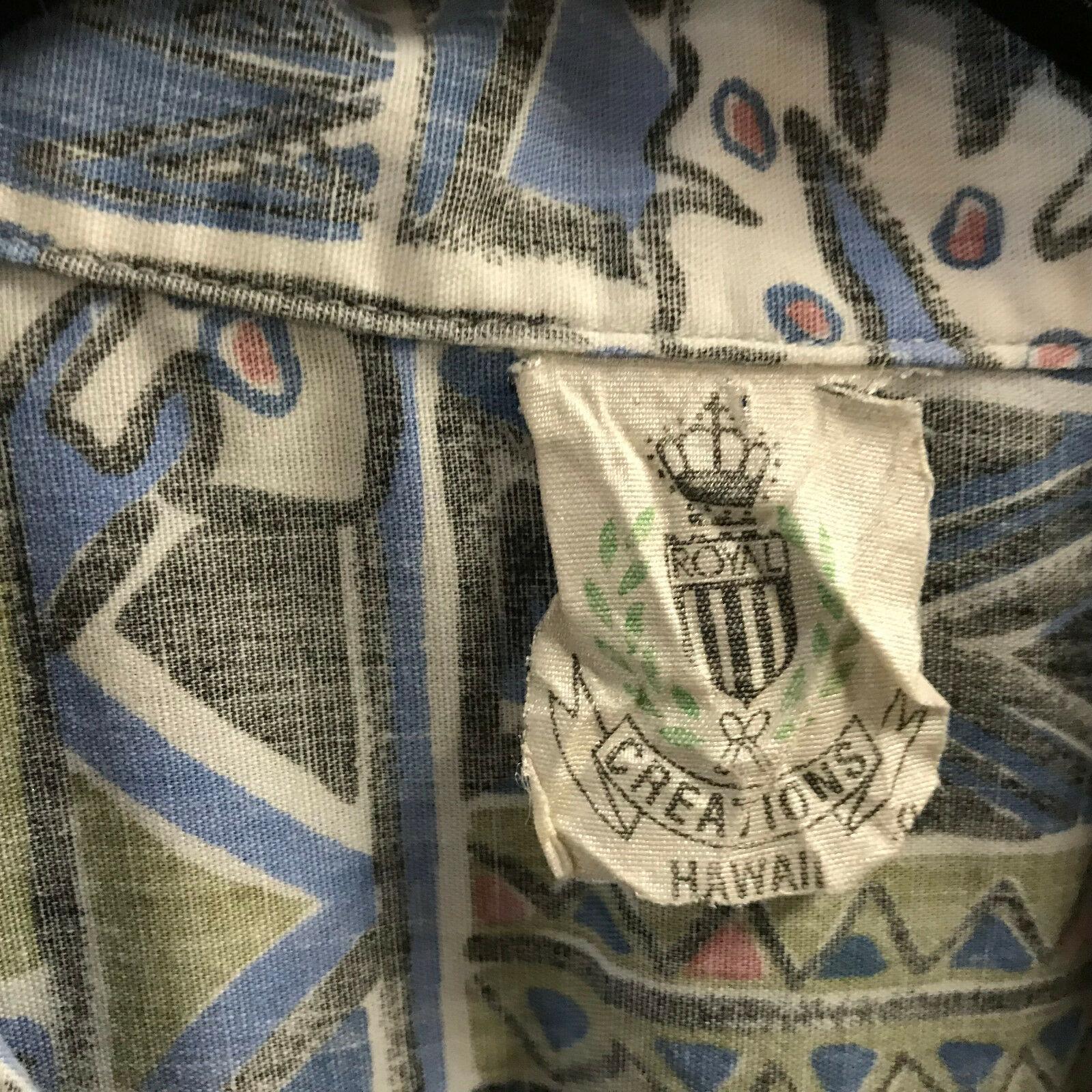Vtg Royal Creations Hawaiian Mens Shirt XL Blue Multicolor