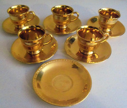 Homer Laughlin Georgian Gold Plated Demitasse Cups & Saucers - $49.99