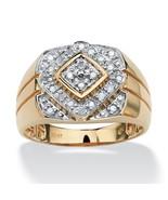 Men's 1/4 TCW Round Diamond 10k Yellow Gold Geometric Ring - $371.82