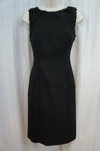 Anne Klein Dress Sz 6 Solid Black Confetti Sleeveless Career Cocktail Sh... - $59.35