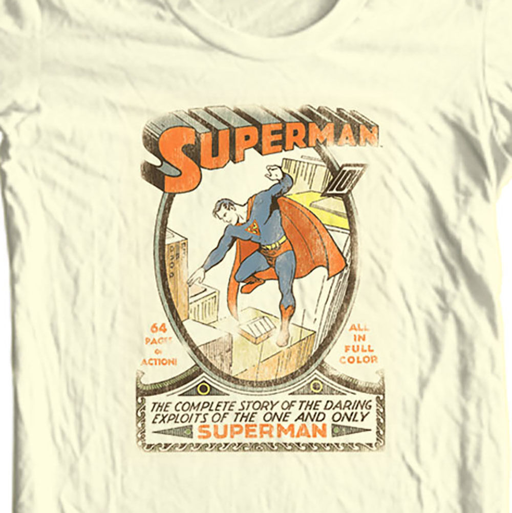 Superman T-shirt vintage golden age DC comic superhero graphic cotton tee DCO168