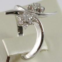 WHITE GOLD RING 750 18K, DOUBLE FLOWER ROSETTA WITH DIAMONDS CRISS CROSSED image 2