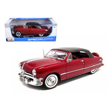 1950 Ford Soft Top Red 1/18 Diecast Model Car by Maisto 31681r - $48.29