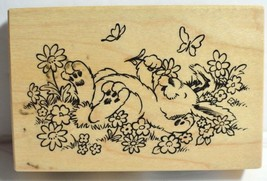 "Bunny Rubber Stamp Easter with Flowers/Butterflies Spring Rabbit 3.5"" PS... - $11.64"