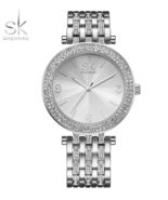 SK® Luxury Women Brands Crystal Sliver Dial Fashion Design Bracelet Watches - $28.25