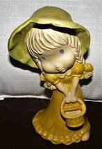 Lovely Ceramic Porcelain Girl in Yellow Dreaa with Basket - $18.46