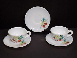 Vintage 5 Pc Lot of Westmoreland Hand Painted Milk Glass Strawberry Cups Saucers - $32.18