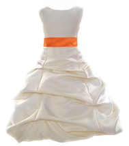 Ivory Pick up Formal Flower Girl Dress pageant wedding bridal toddler go... - $38.99