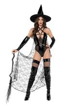 Roma Sexy Playboy Wicked Witch Black Vinyl & Web Mesh Bodysuit 3pc Costu... - $142.99