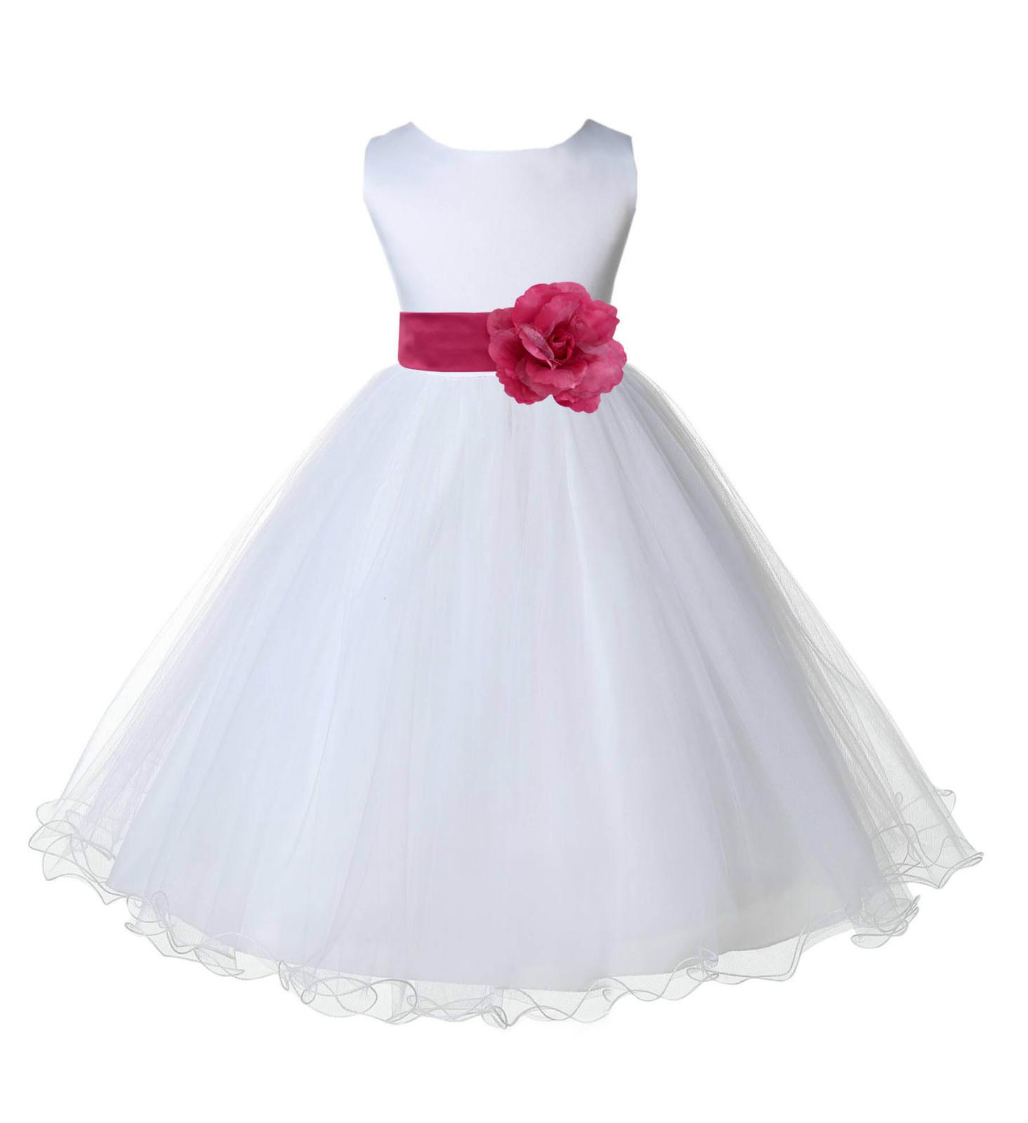 White Tulle Flower Girl dress Rattail edge and 50 similar items