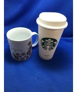 Starbucks Holiday Poinsettia Snowflake Red Gold 12 Oz Coffee Cup Mug & P... - $9.88