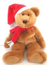 Ty Christmas Santa Buddy Bear Plush Red Santa Hat and Scarf 2001 - $15.00