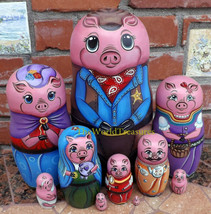 Sheriff's Family on the Set of Ten Russian Nesting Dolls. Pigs. - $249.00