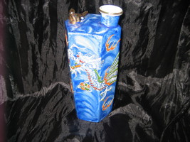 Vintage Japan Handpainted Porcelain Blue FLYING DRAGON Vase w/ Gold-Tone... - $65.00