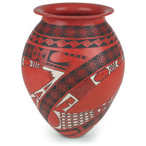 """Red Mata Ortiz Southwest Vase Hand Built Hand-Painted 10.5"""" Old Style De... - $339.00"""