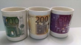Collection of 6 Coffee Mugs Euros 10, 20, 50, 1... - $30.84