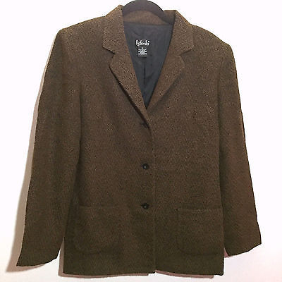 Primary image for Rafaella Blazer Jacket Size 12 Brown Textured Notched Lapel 3 Button Career Wear