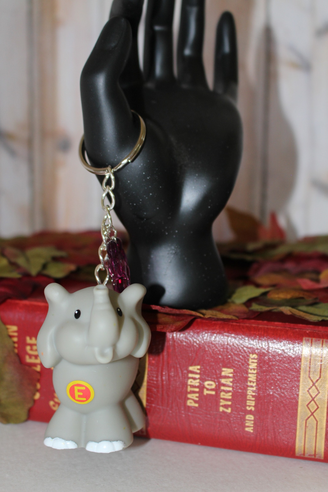 Handmade Gray Elephant Key Chain Beaded Bedazzled Little People