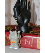 Handmade Gray Elephant Key Chain Beaded Bedazzl... - $14.99