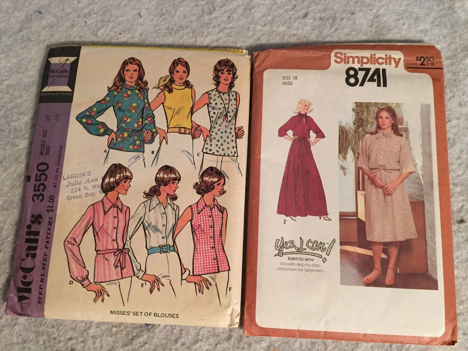 Primary image for Simplicity 8582 Sewing Pattern - Misses' Dress SZ 18. McCalls 3550 Blouses. Vntg