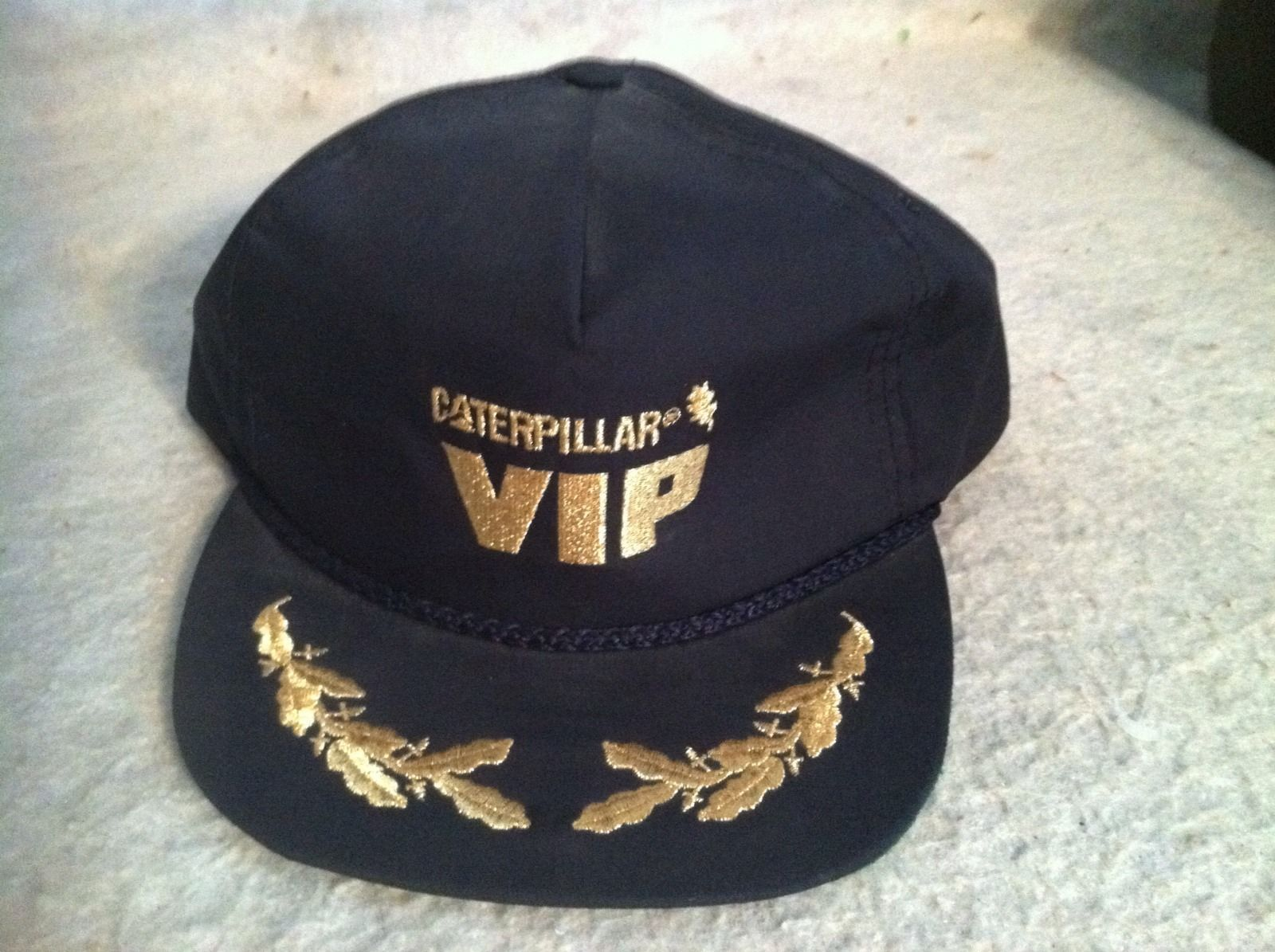Primary image for Vintage Caterpillar VIP hat, Trucker Stitched Gold Lettering, Leafing Adjustable