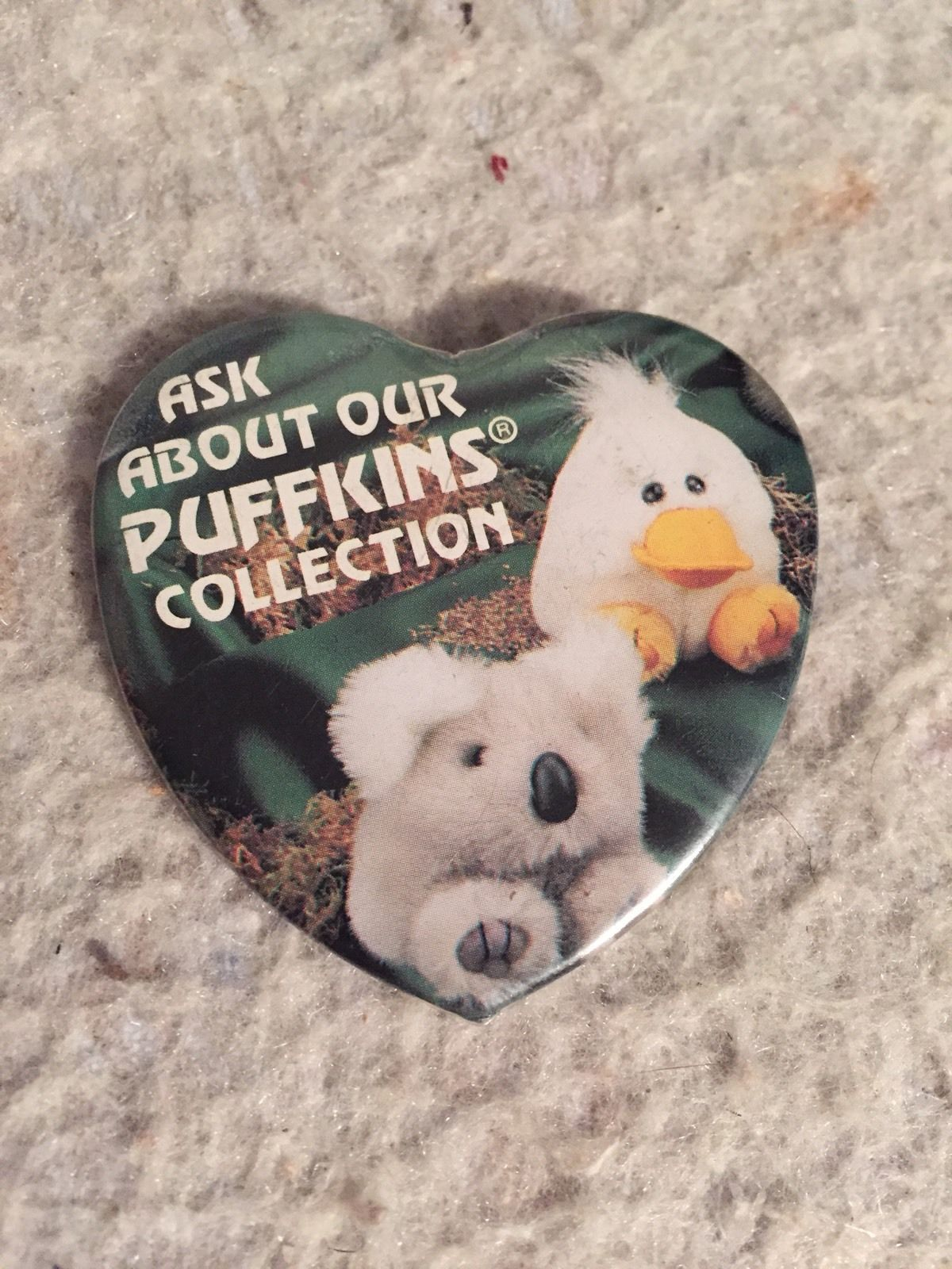 Primary image for Rare Puffkins Promotional Pin Back Button. Stuffed Plush Collection Series.
