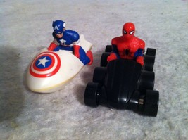 1990 Marvel Toy Car Lot. Spiderman & Captain America. Comic Fast Food Toys. - $7.84
