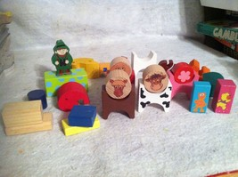 Lot Of Childrens Wood Block Animals And Building Toys. Cow, Horse, Dog. - $12.59