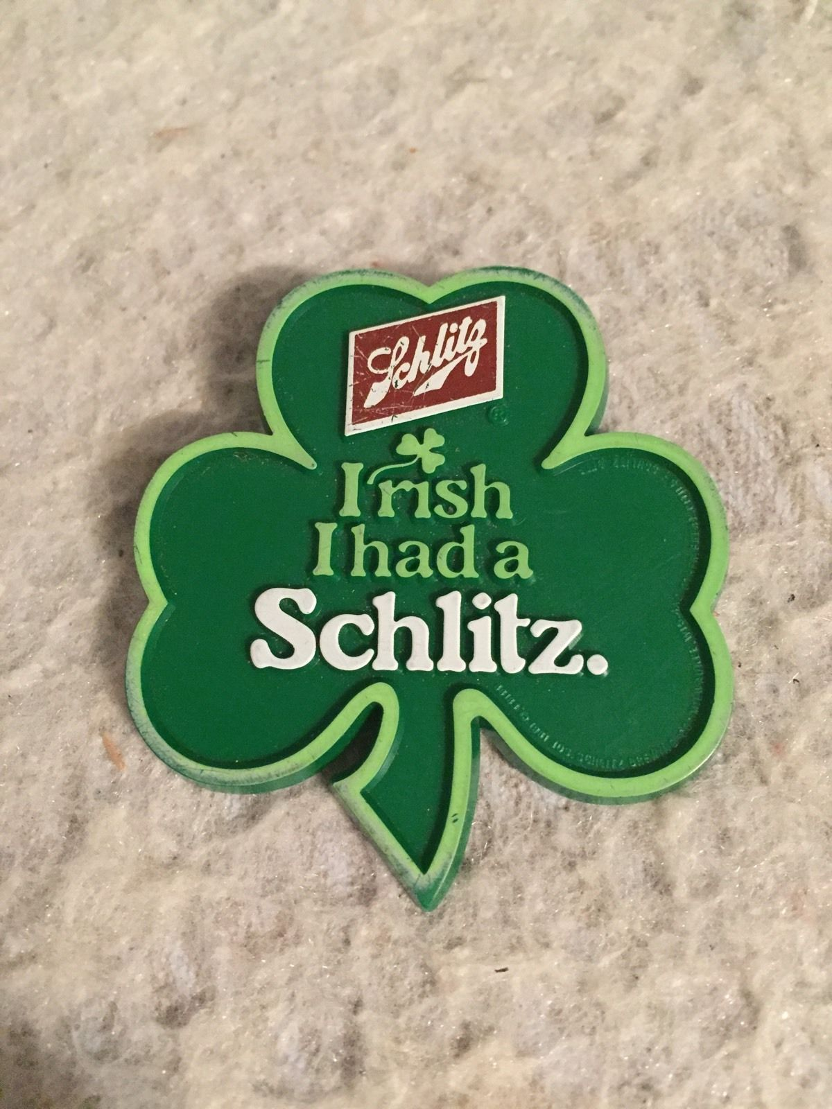 Primary image for Irish I Had A Schlitz Beer SHAMROCK 3 Leaf Clover Pin St. Patrick Pinback Button