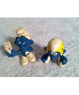 Vintage 1978 SCHLEICH PEYO SMURFS. Card Playing Smurf And A Rider. Pvc F... - $6.89