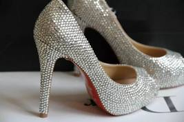 Red Bottom Wedding Shoes Open Toe Bridal Shoes silver crystal prom pumps... - $125.00