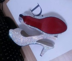 low Bridal Shoes AB swarovski slingback bridal shoes sandal wedding red bottom - $165.00