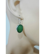 Chalcedony Apple Green Sterling Silver Faceted Oval Pierced Dangle Earri... - $45.81