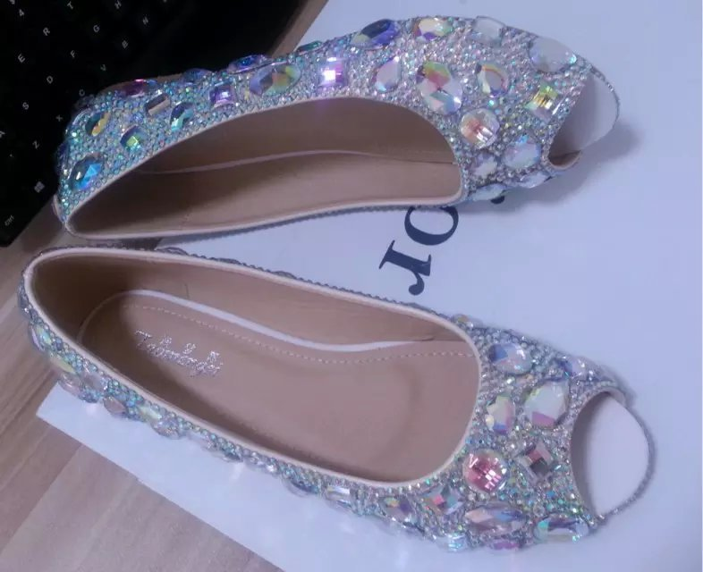 Wedding Ballet Flats Shoes Open Toe Bridal Shoe Bridesmaid Shiny Gems Swarovski