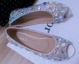 Wedding Ballet Flats Shoes Open Toe Bridal Shoe Bridesmaid Shiny Gems Swarovski image 2