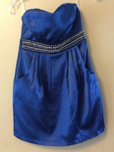 Macys Trixxi Blue Sleeveless Cocktail Prom/Party Mini Dress Rhinestone B... - $17.41
