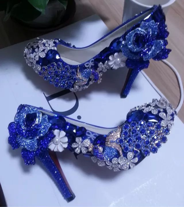 Blue Wedding Shoes Handmade Luxury Bridal Shoes Peacock Blue Rose Glitter Heels