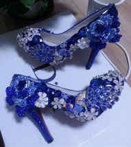 Blue Wedding Shoes Handmade Luxury Bridal Shoes Peacock Blue Rose Glitte... - $165.00