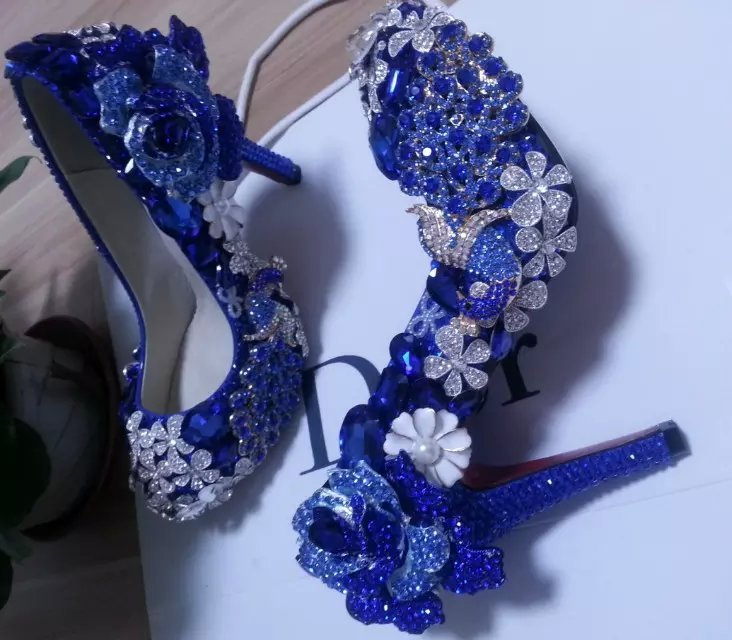 Blue Wedding Shoes Handmade Luxury Bridal Shoes Peacock Blue Rose Glitter Heels image 2