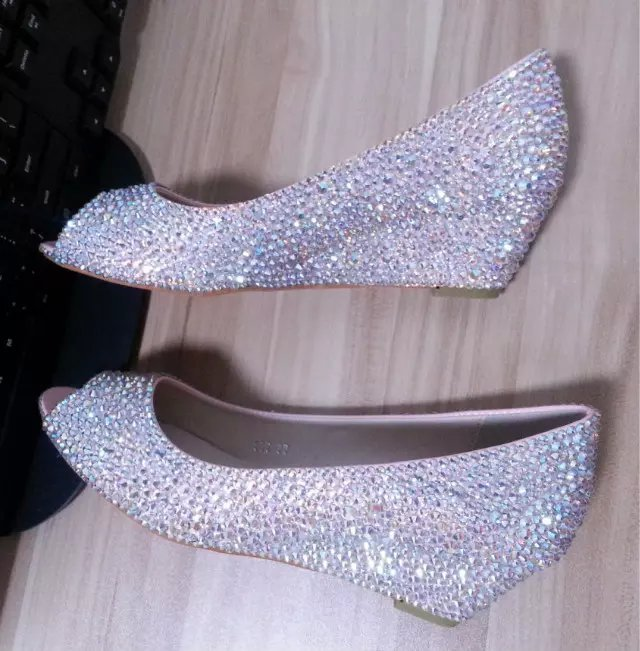Primary image for wedding shoes swarovski lower peep toe wedge shoes bridal bridesmaid sparkly