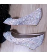 wedding shoes swarovski lower peep toe wedge shoes bridal bridesmaid spa... - $165.00
