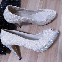 ivory pearl and AB crystal bridal shoes peep toe 4 inch heels custom big... - $125.00