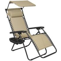 Patio Chair Outdoor Garden Lounge Tan Cup Holder Canopy Shade Zero Gravity - $62.99