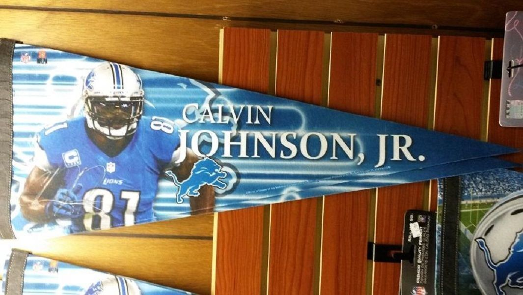 "Primary image for NFL Detroit Lions Calvin Johnson Premium Pennant 12"" x 30"""