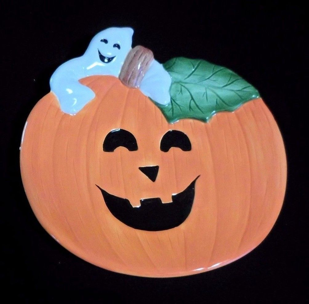 Primary image for FITZ AND FLOYD Pumpkin Ghosts Canape Plate