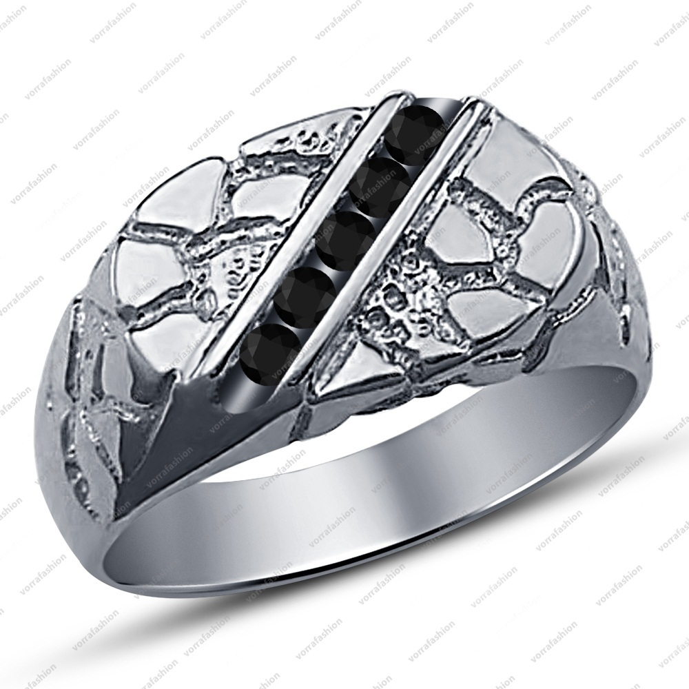 Sz7-15 CZ Couple White Gold Fn Sterling Silver Wedding Ring Men Engagement Band