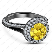 Round Cut Stone Yellow Created Sapphire 925 Sterling Silver Black Gold P... - ₹6,183.89 INR