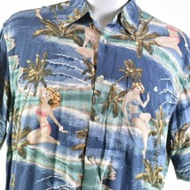Campia Bikini Woman Palm Trees Beach Rayon Large Hawaiian Aloha Shirt - $24.74